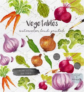 Vegetables watercolor clipart