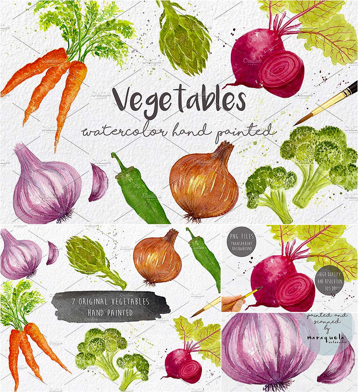 Vegetables watercolor clipart