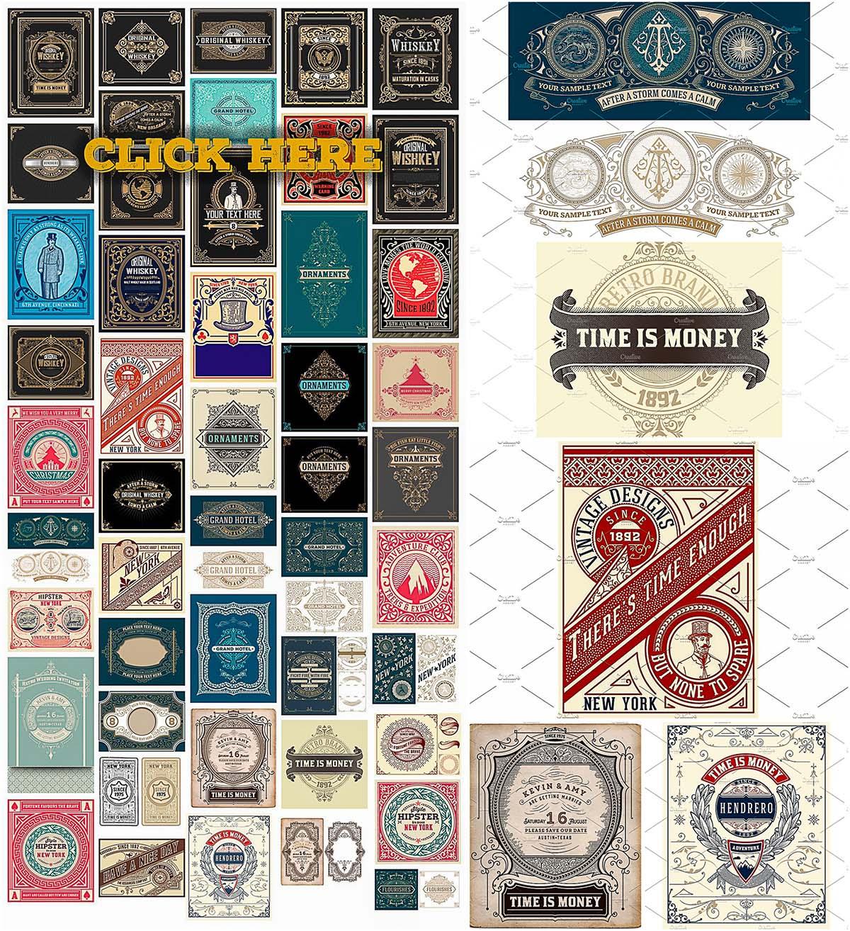 50 vintage ornate cards