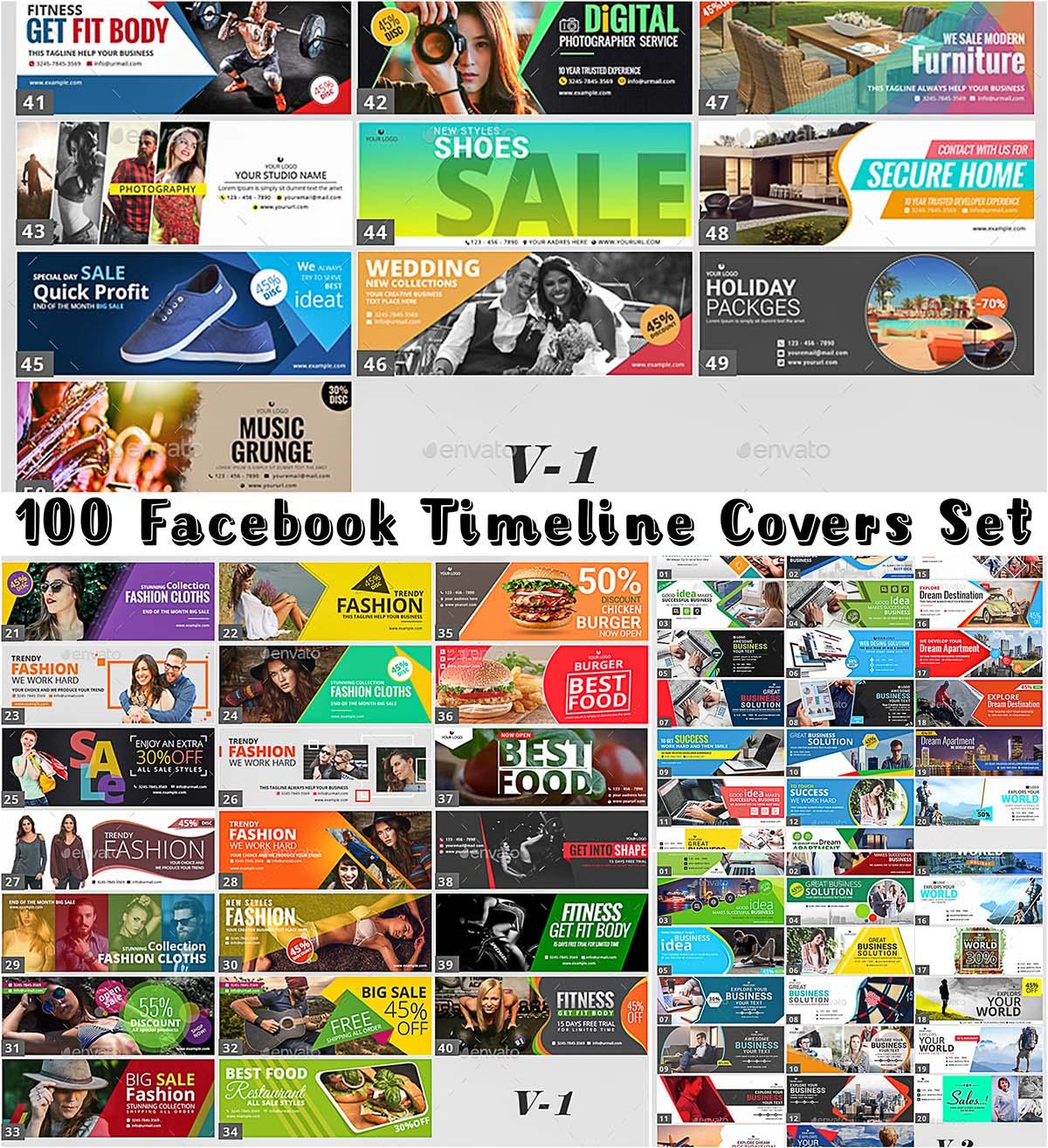 100 facebook cover templates