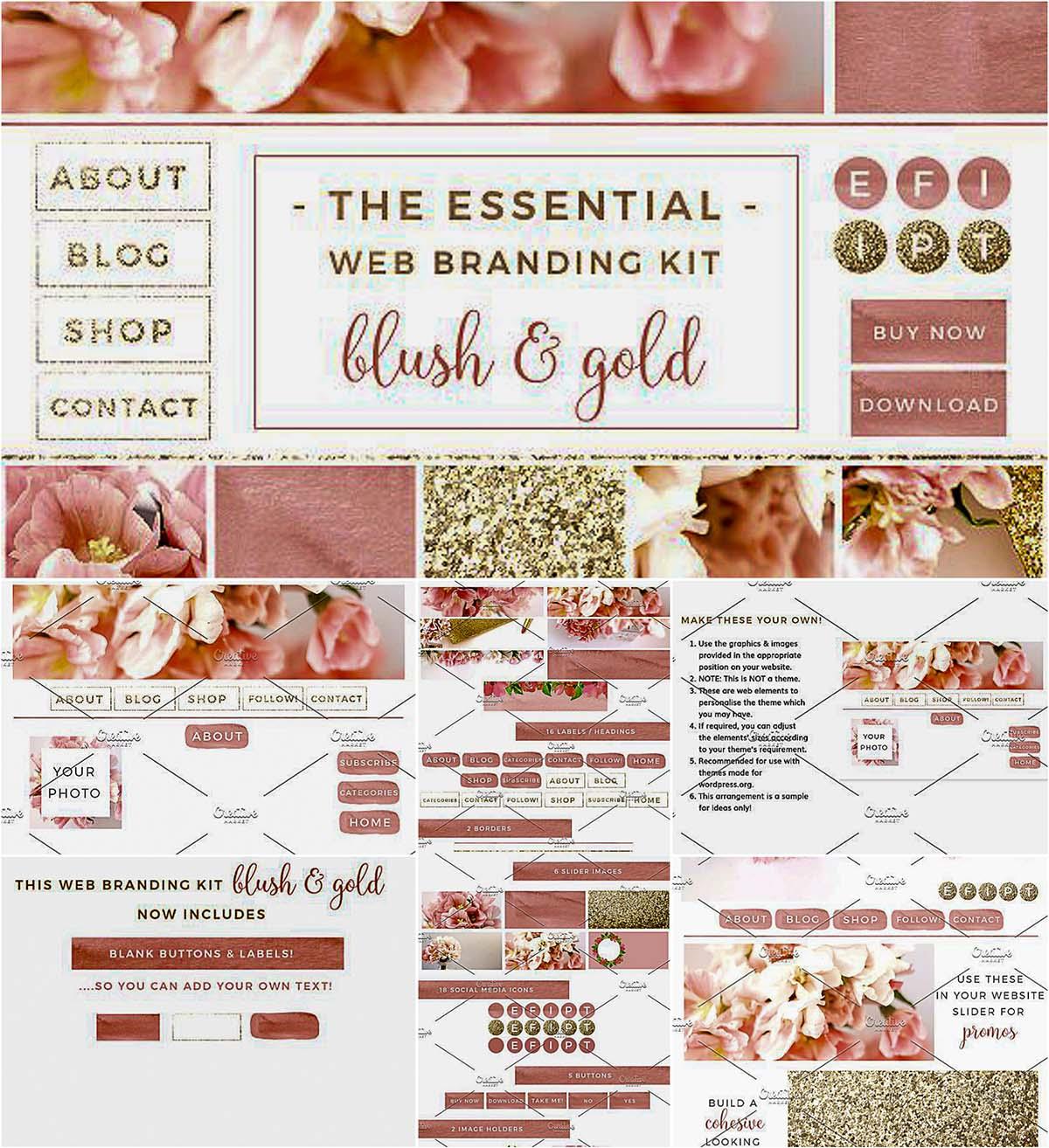 Blush pink and gold blog kit