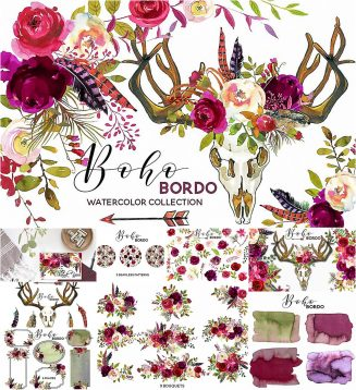 Boho bordo illustrations
