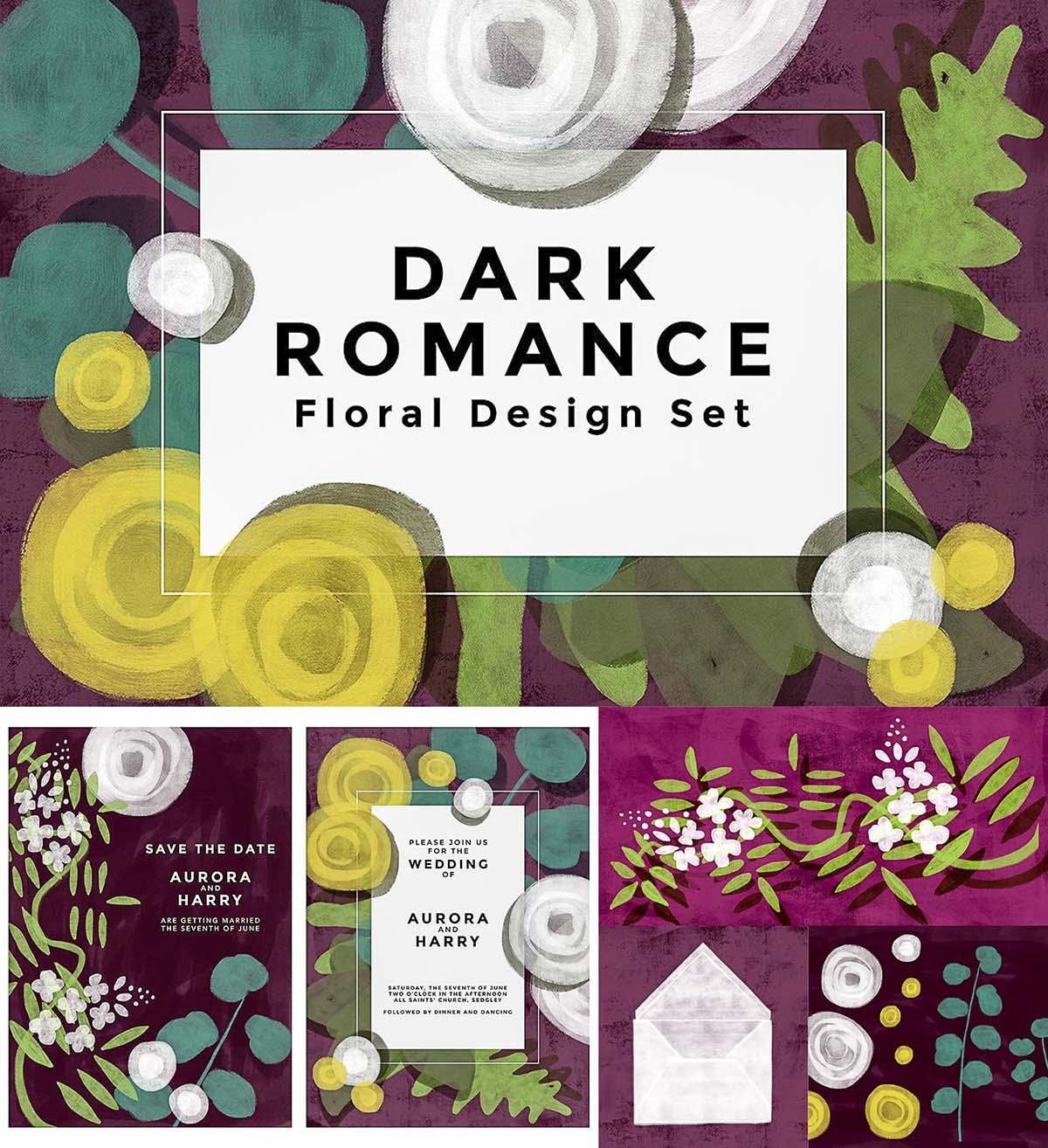 Dark romance textured floral set