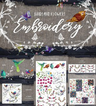 Embrodiery birds and flowers