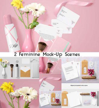 Feminine stationery mockup scene