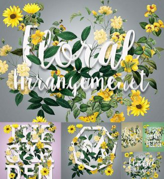 Floral arrangement mockup set