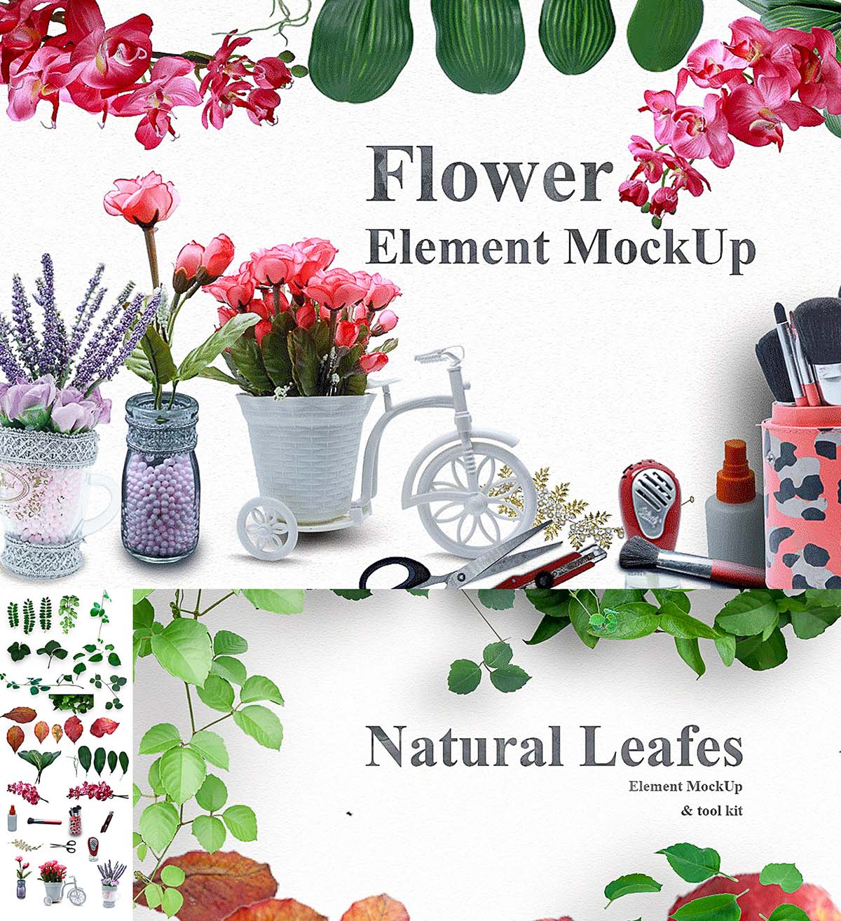 Mockup toolkit flowers and leaves