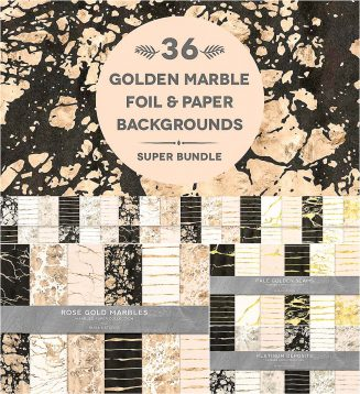 36 golden marble digital papers