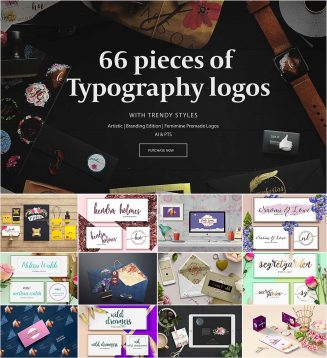66 typography logos pack