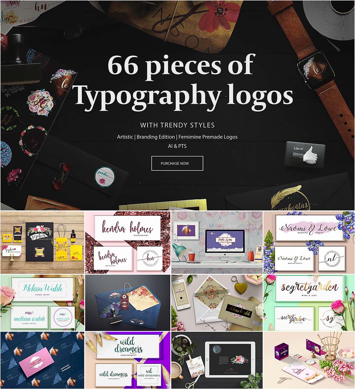 66 typography logos pack
