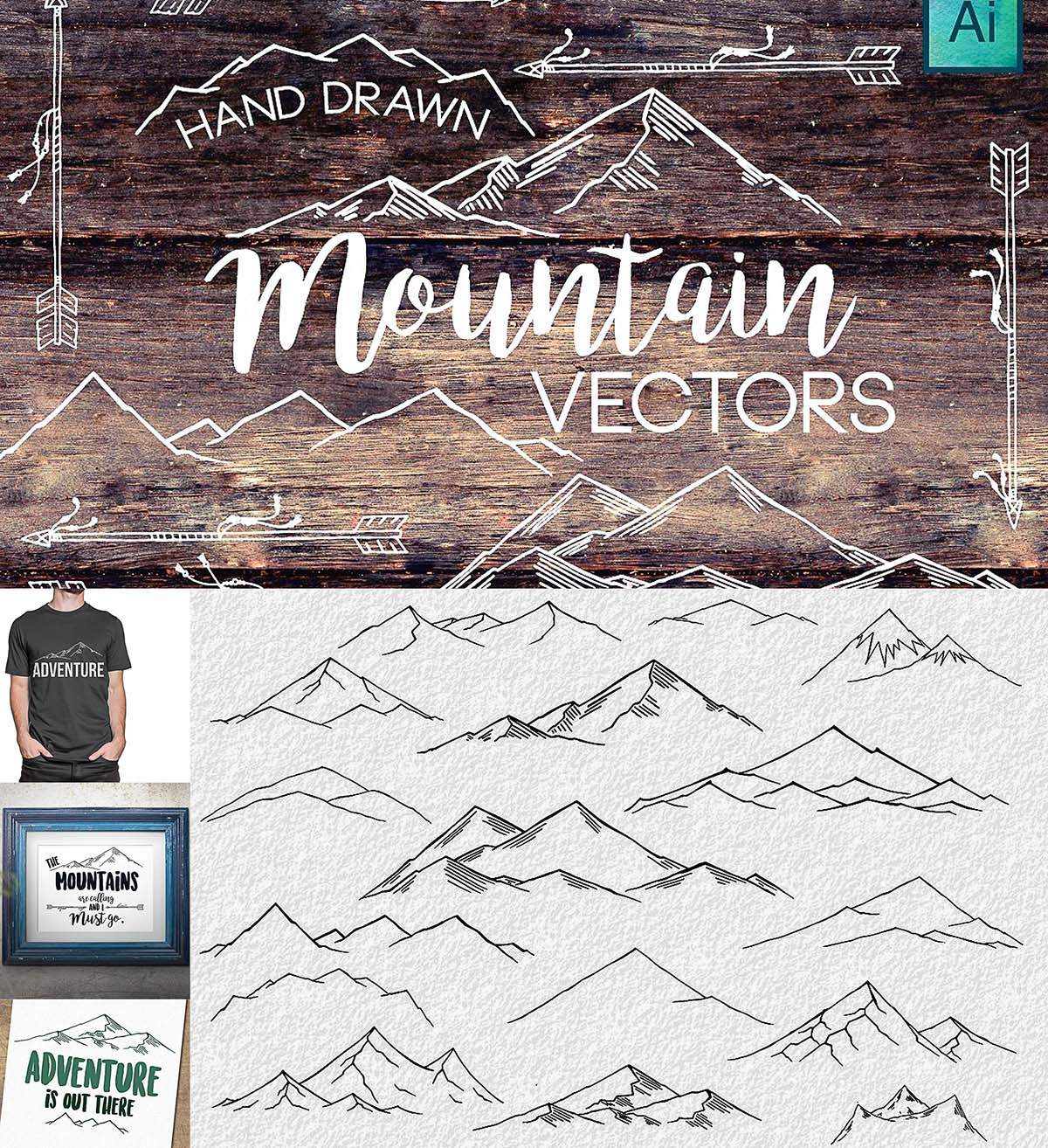 Hand drawn mountain vectors