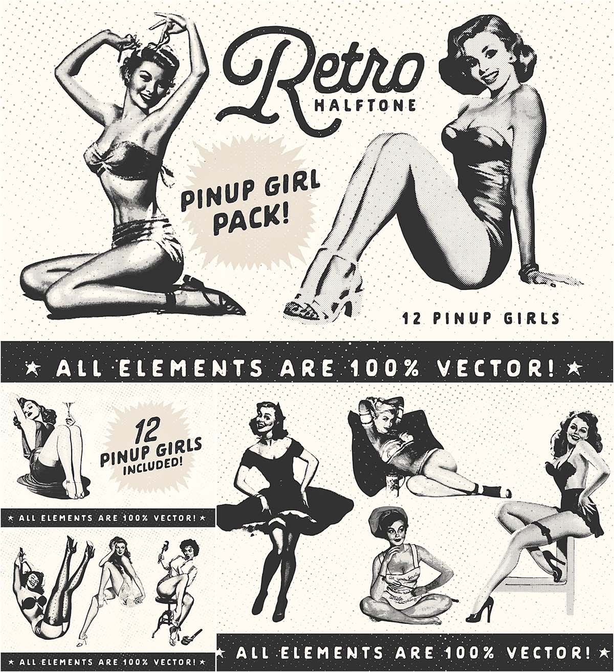 Retro pin-up girls set