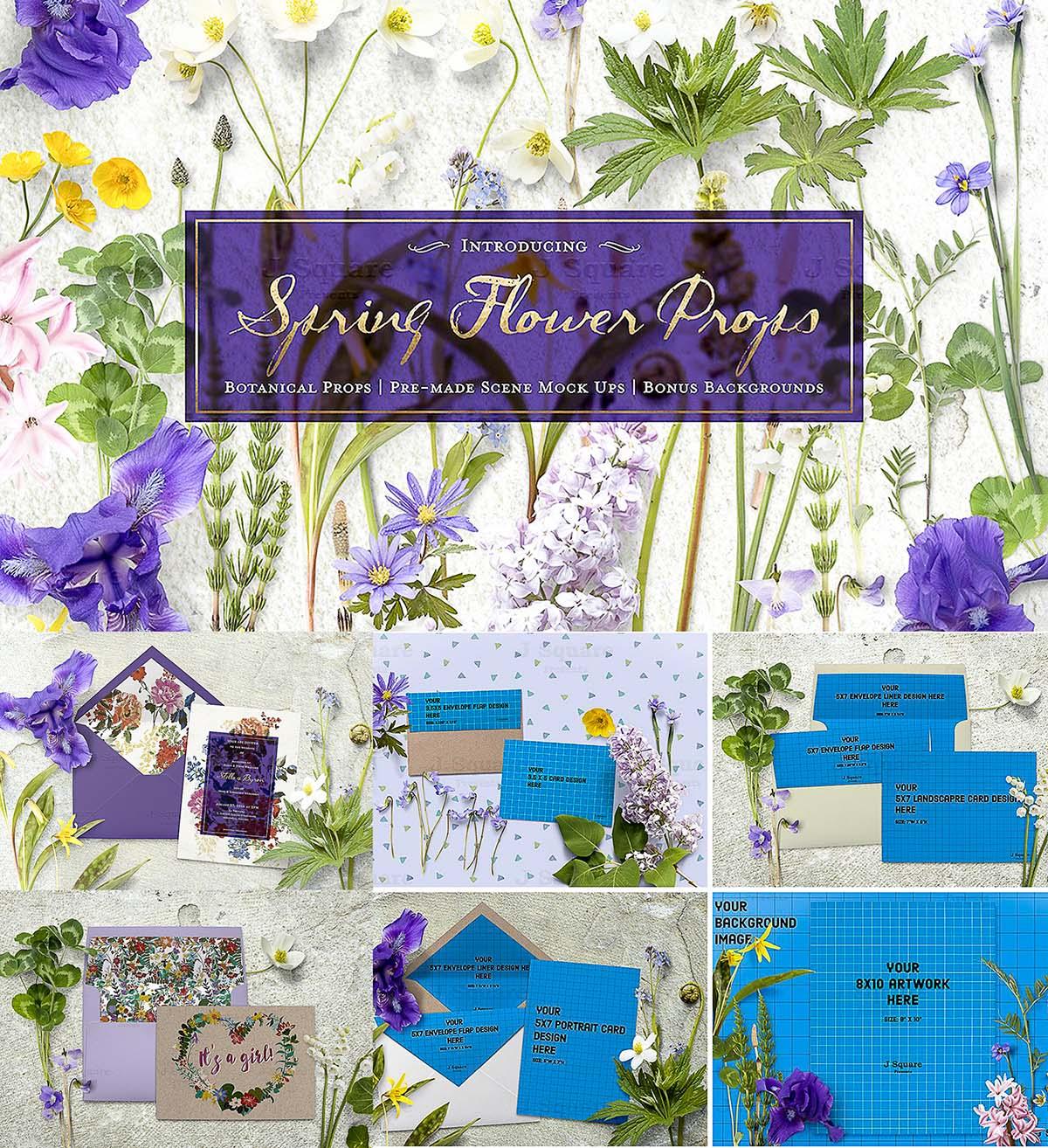 Spring flowers props mockup + bonus