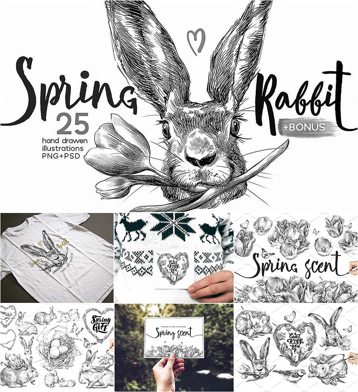 Spring rabbit illustration postcard