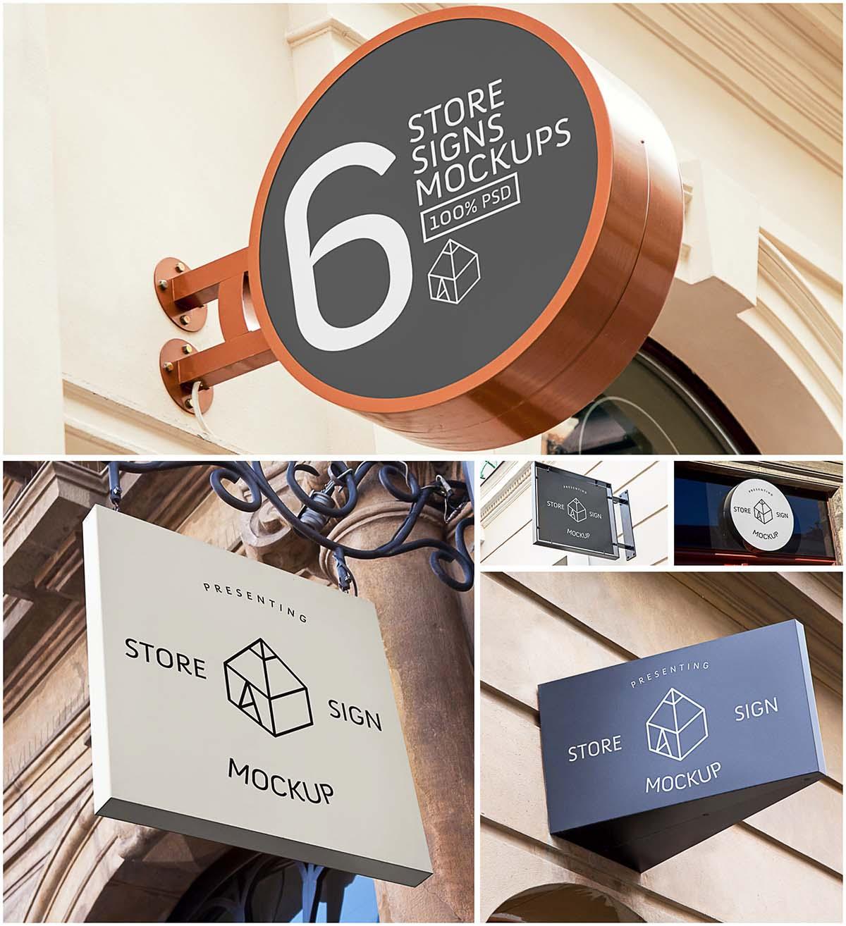 6 store signs mockup