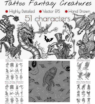 Tattoo fantasy characters vector