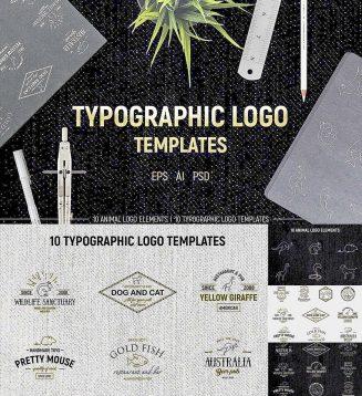 Typographic logo + animals set