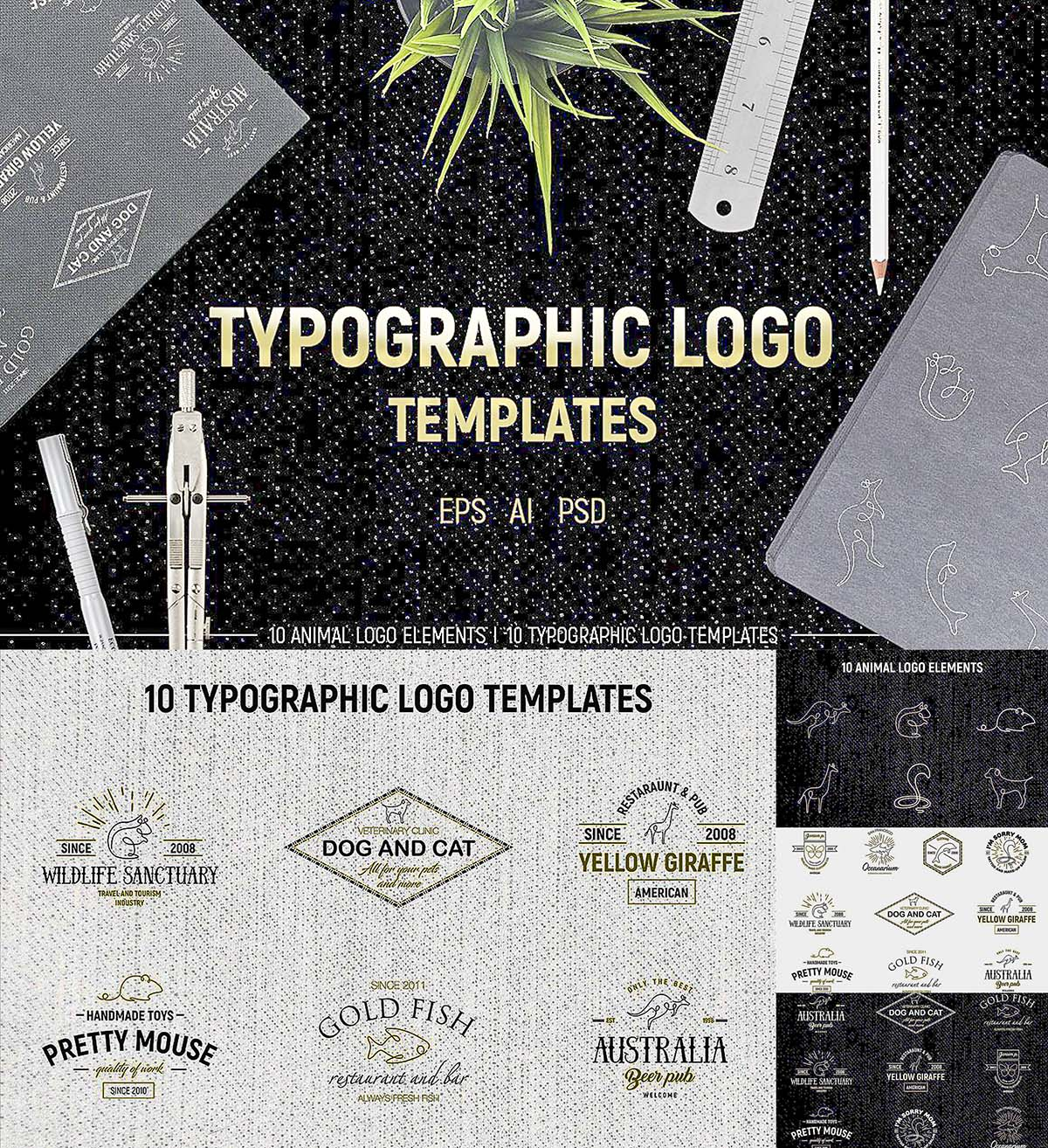 Typographic logo + animals set