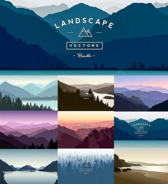 Landscapes vector set