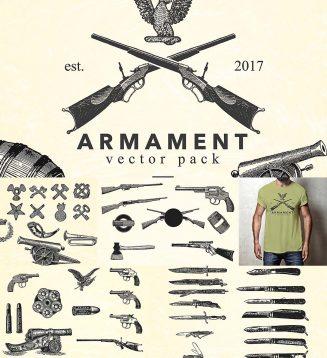 Armament vintage gun illustrations