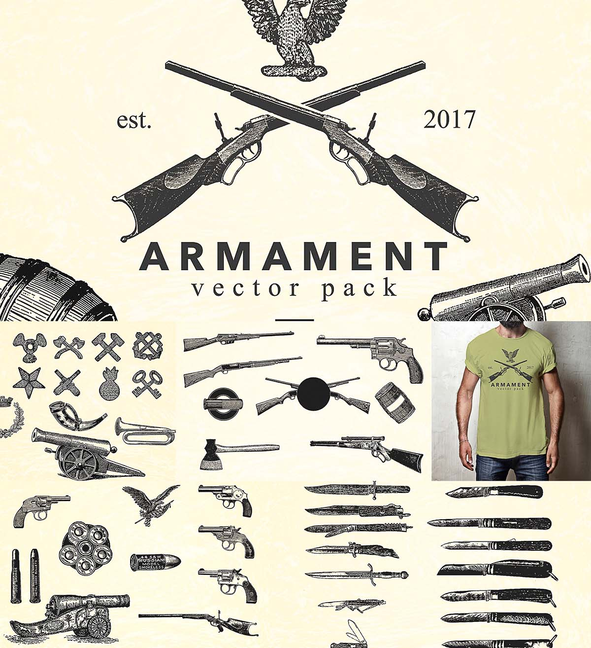 Armament vintage gun illustrations