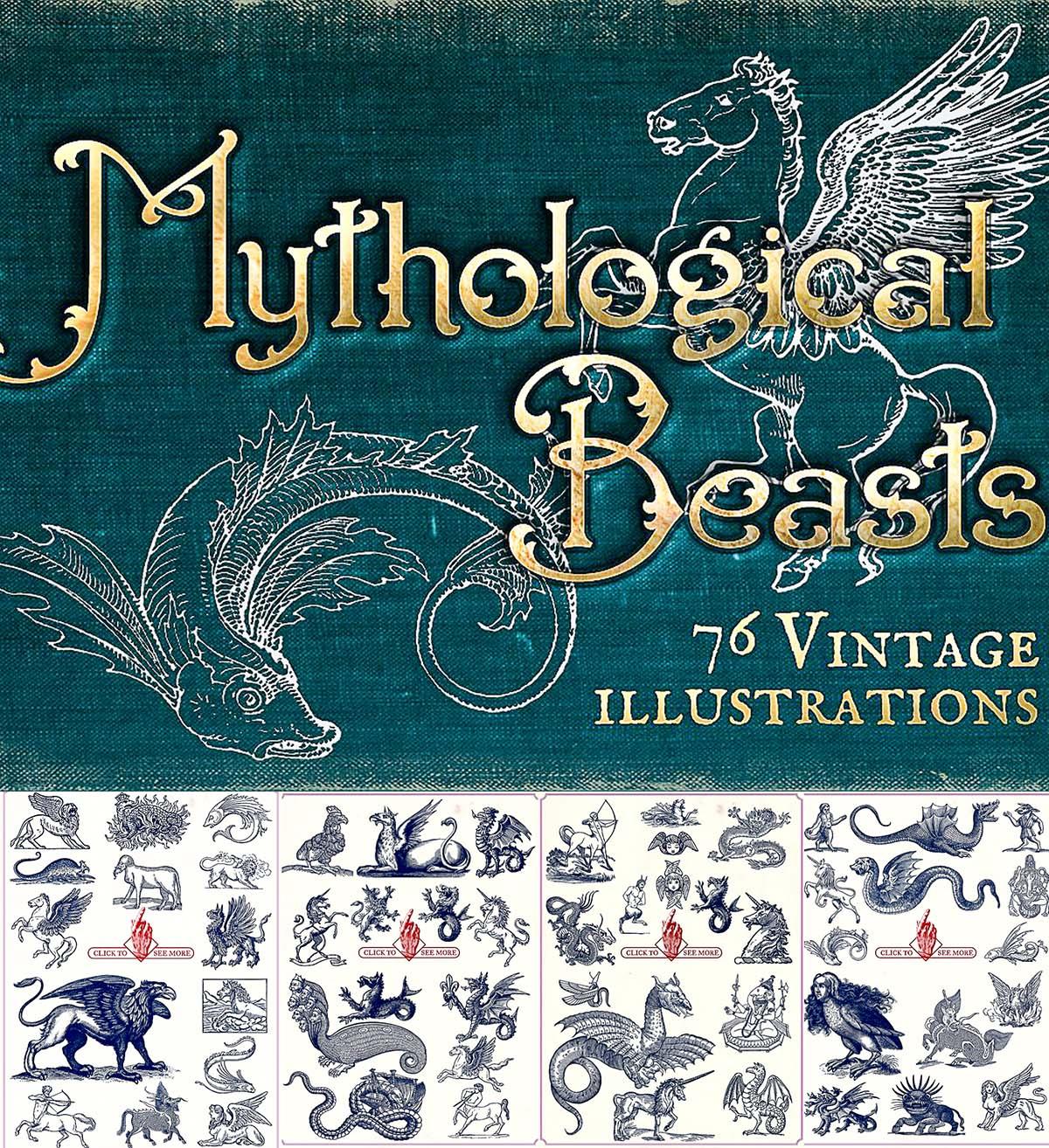 Vintage mythological beasts illustrations