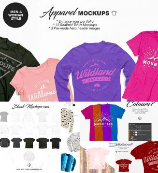 Apparel mockups hero header
