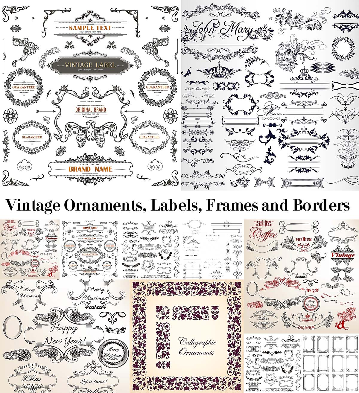 Vintage decorative elements bundle