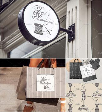 Tailor shop illustrations and patterns