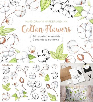 Cotton flowers illustrations and patterns set