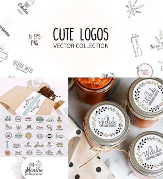 Cute vector logos set