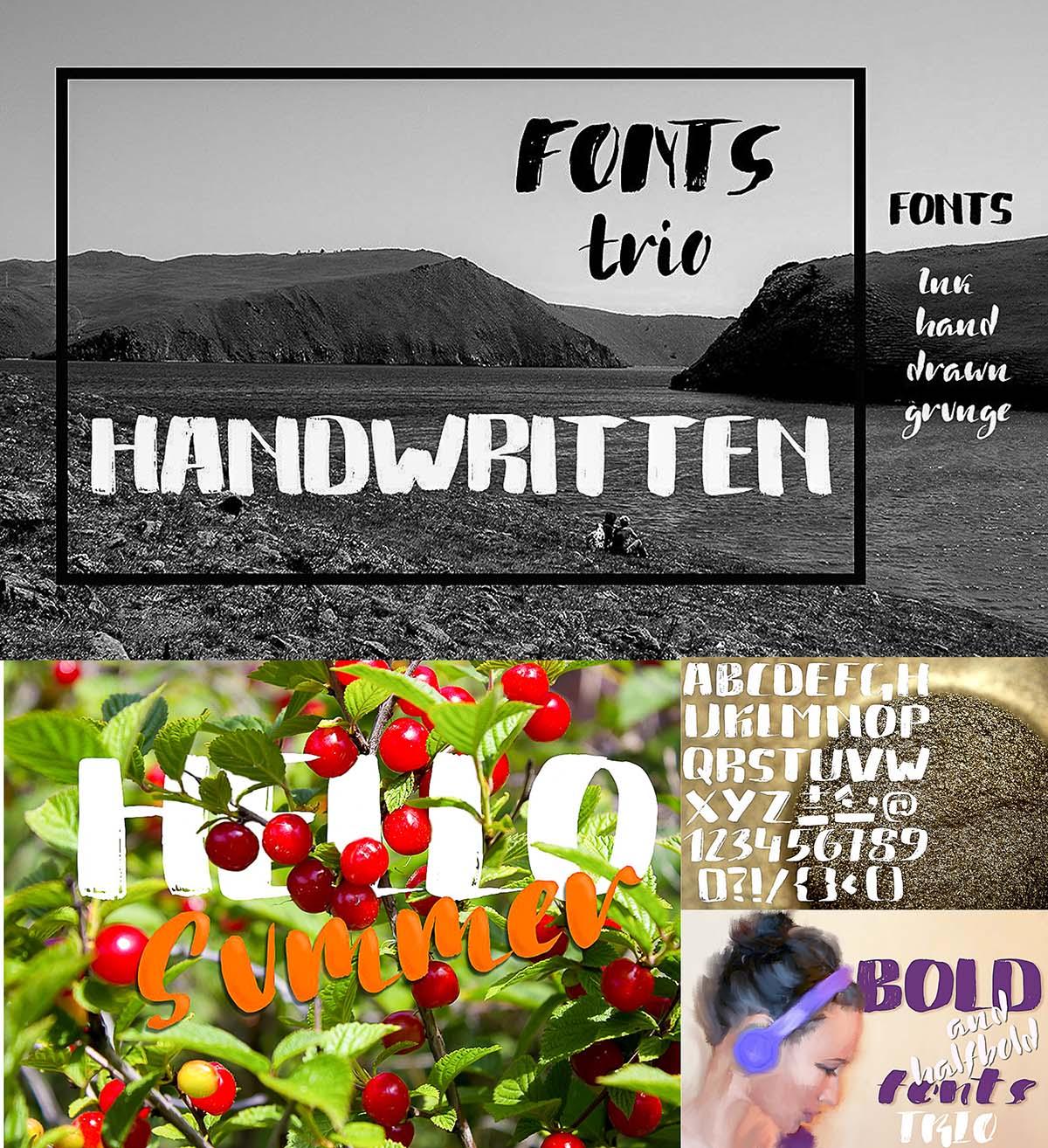 Handwritten font trio