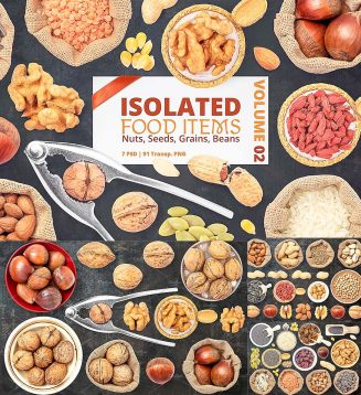 Isolated nuts seeds beans mockup set