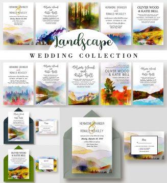 Landscape wedding invitations bundle