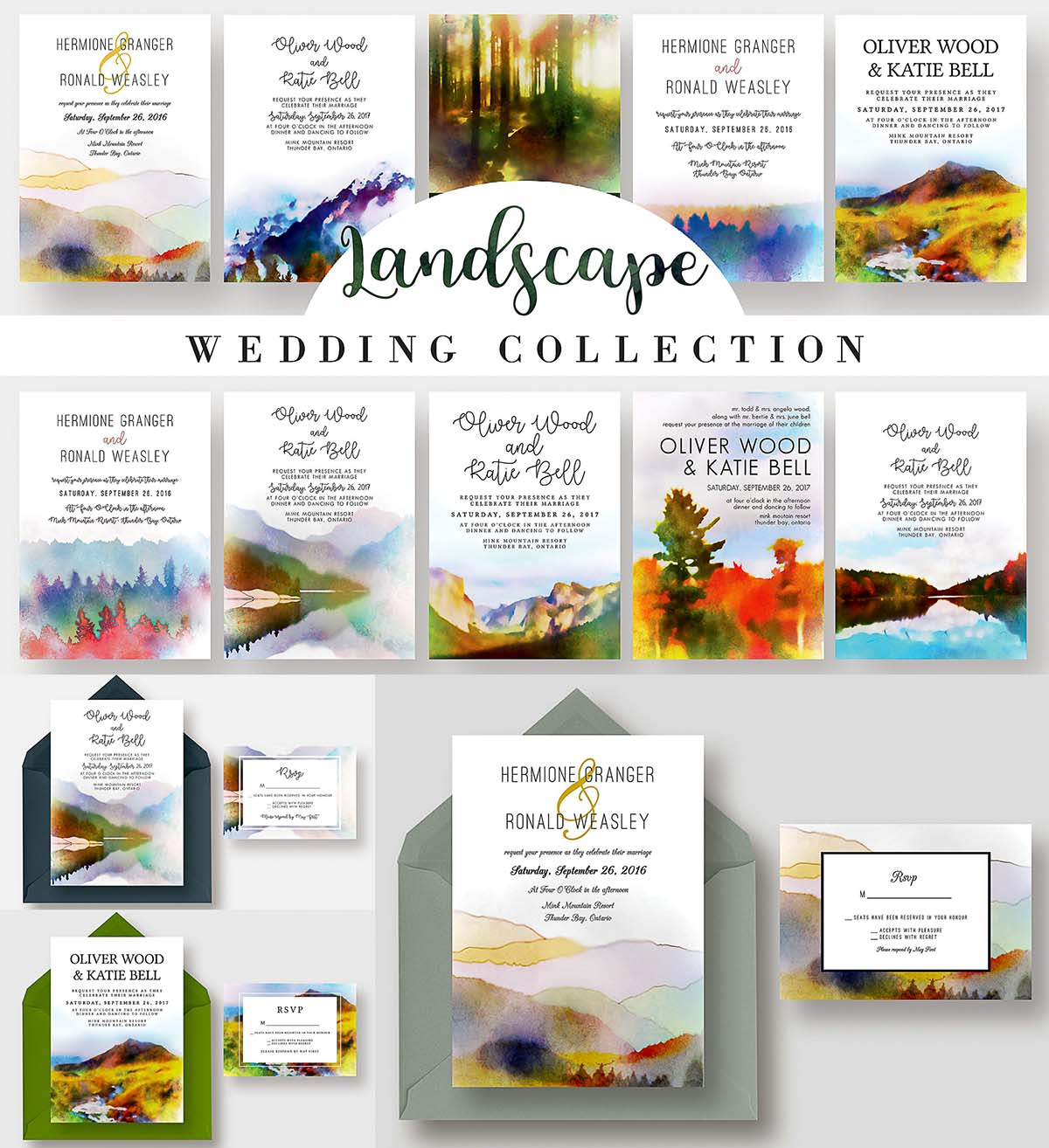 Landscape wedding invitations bundle