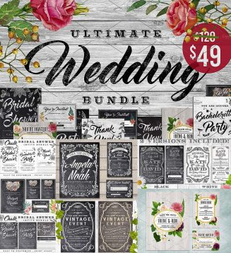 Chalk wedding invitation mega bundle