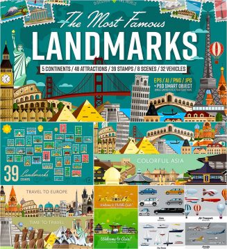 World's famous landmarks vector set
