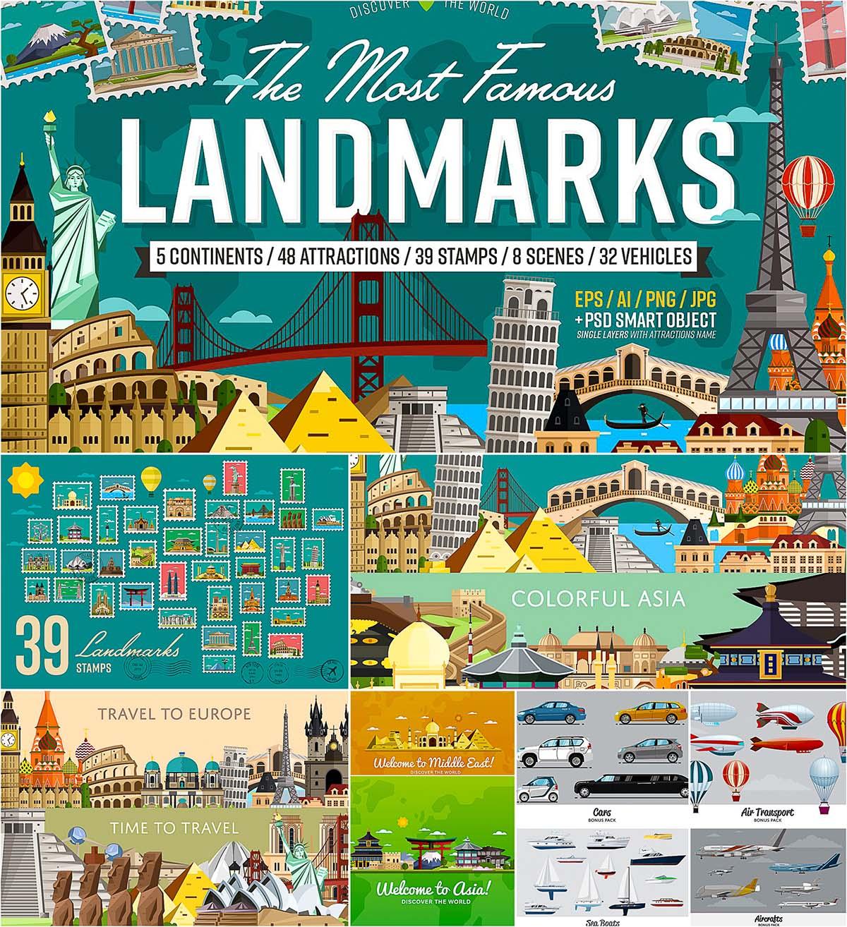 World's famous landmarks vector set