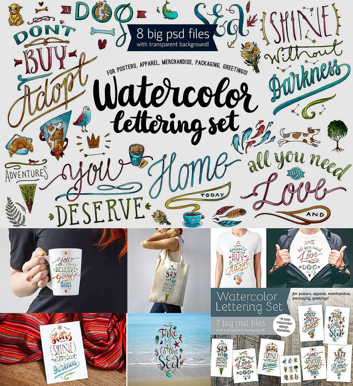 Watercolor lettering motivational quotes