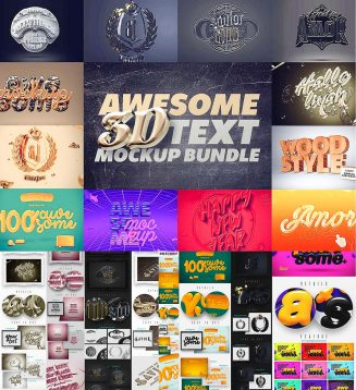 3D text mockup collection