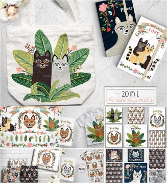 Cute cat prints set