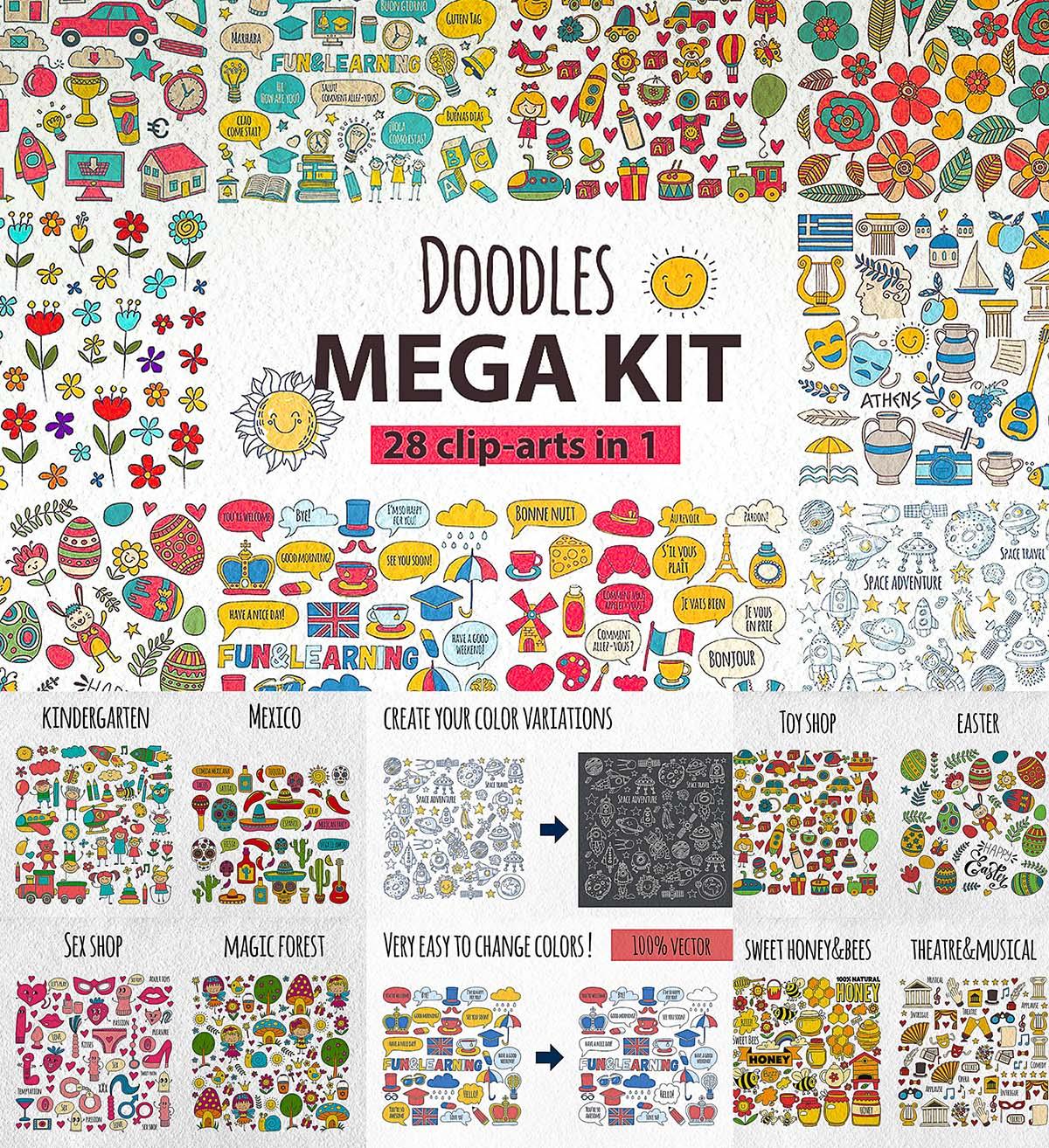 Doodle mega kit cliparts