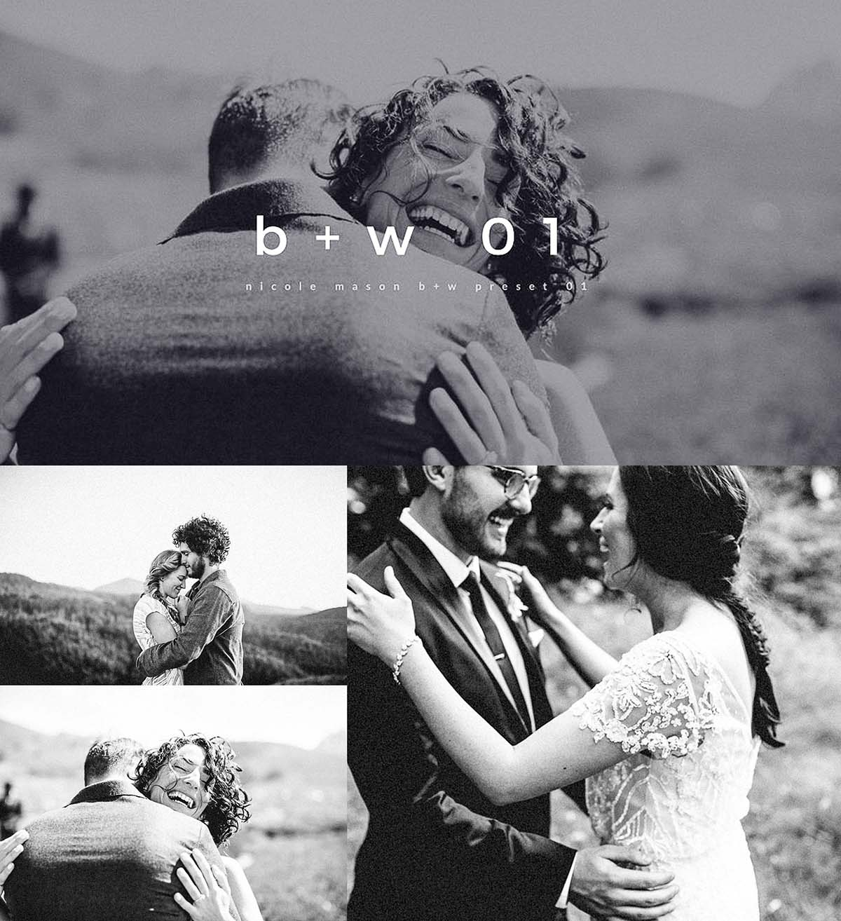 Black and white wedding lightroom preset