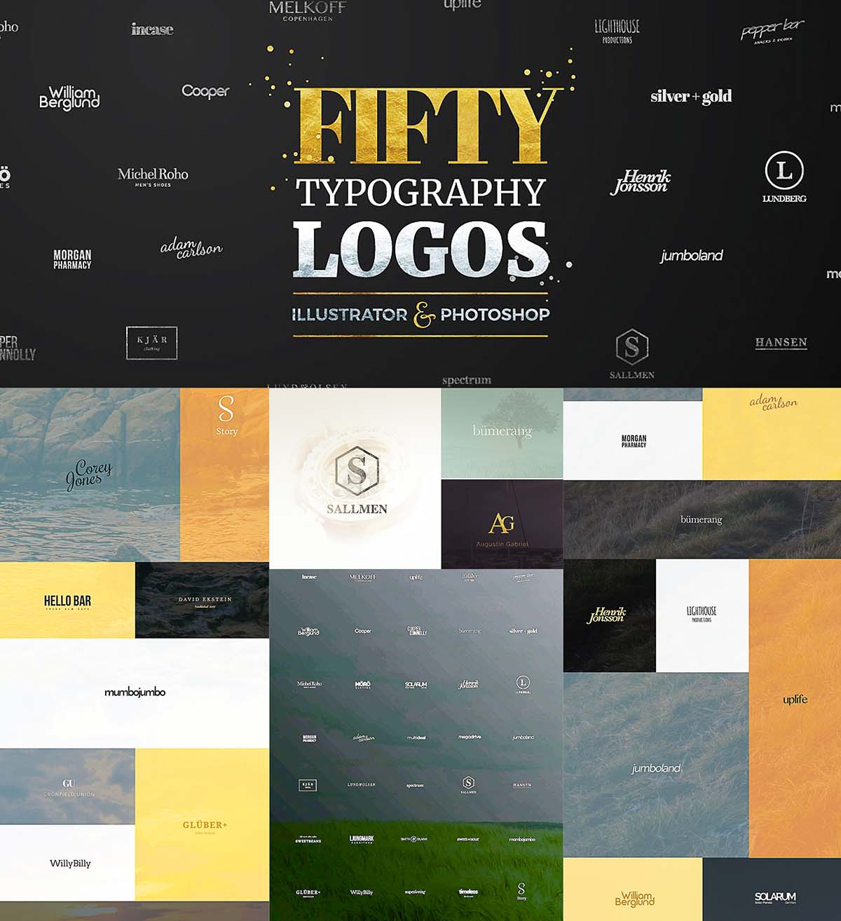 Fifty typography logo templates