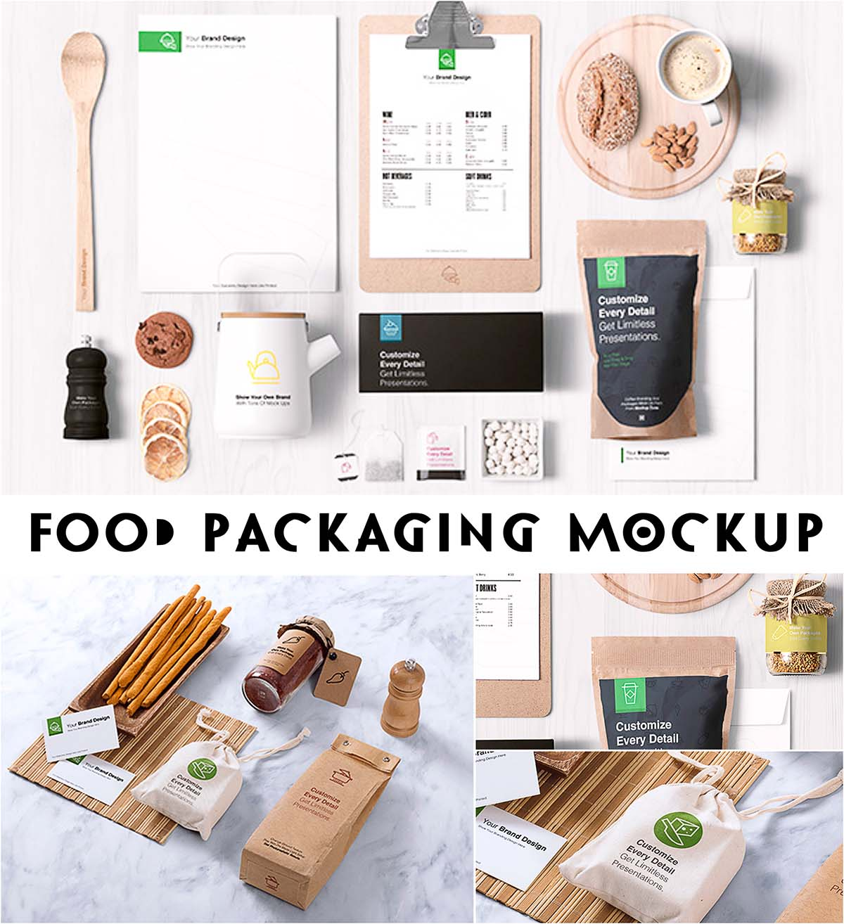 Food branding packaging mockup