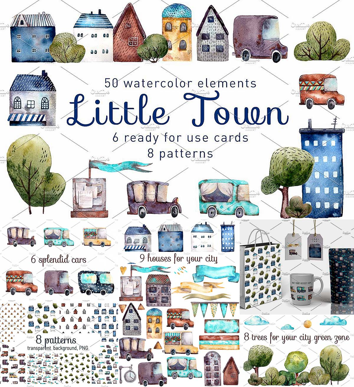 Little cute town illustrations