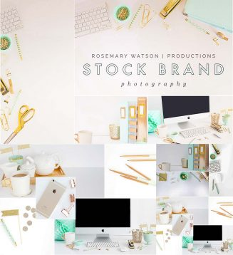 Mint minimalistic stock photo set