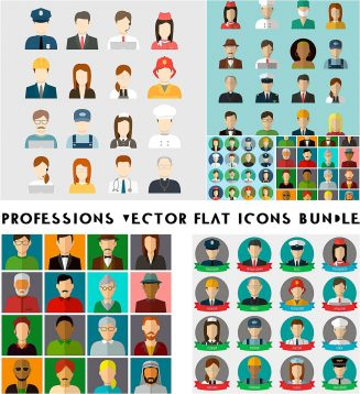 Professions and people vector flat icon set
