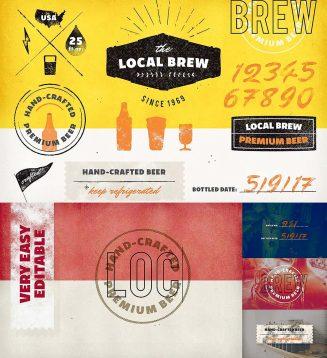 Vintage brewery logo pack