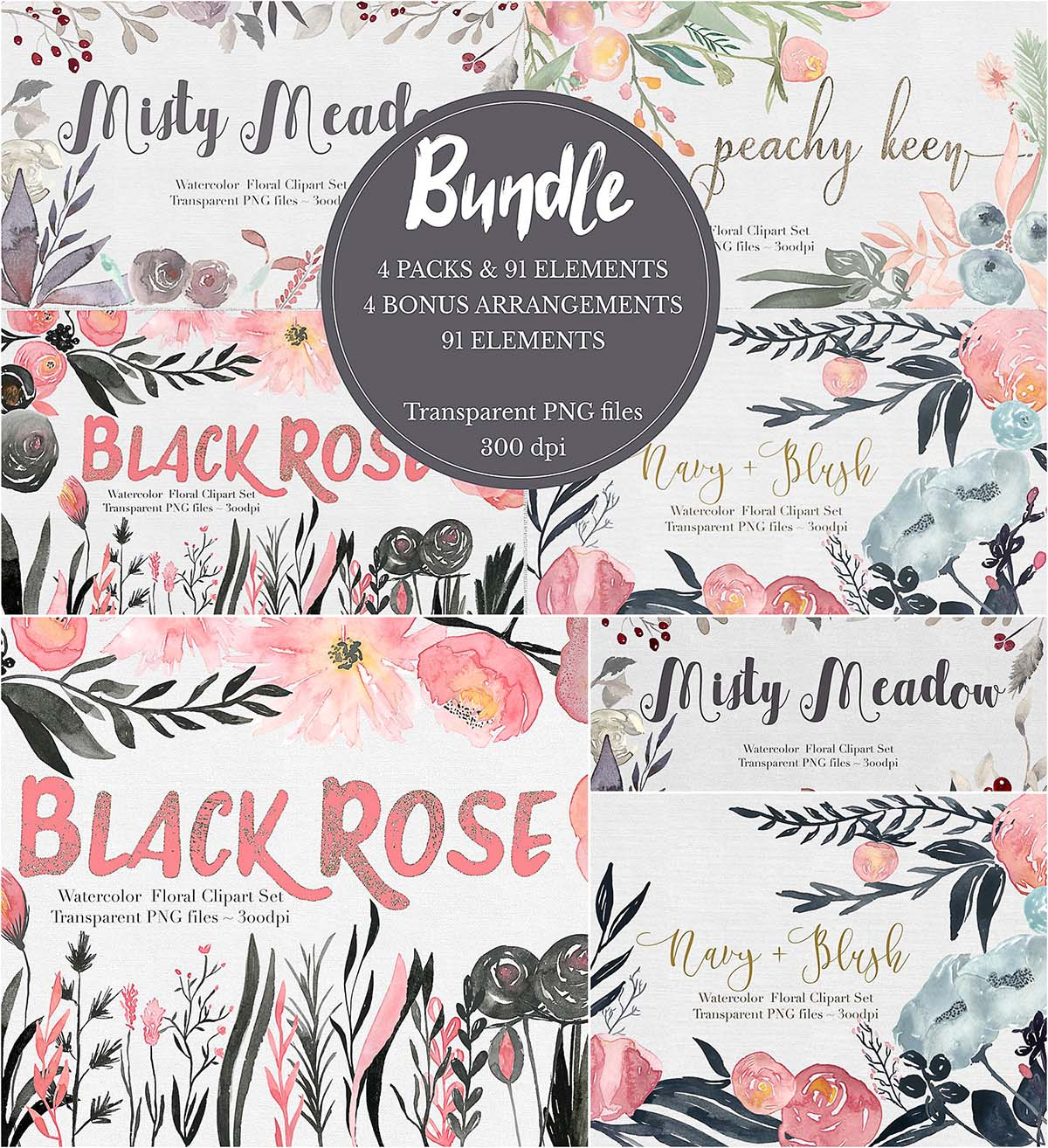 Handpainted flower clipart bundle